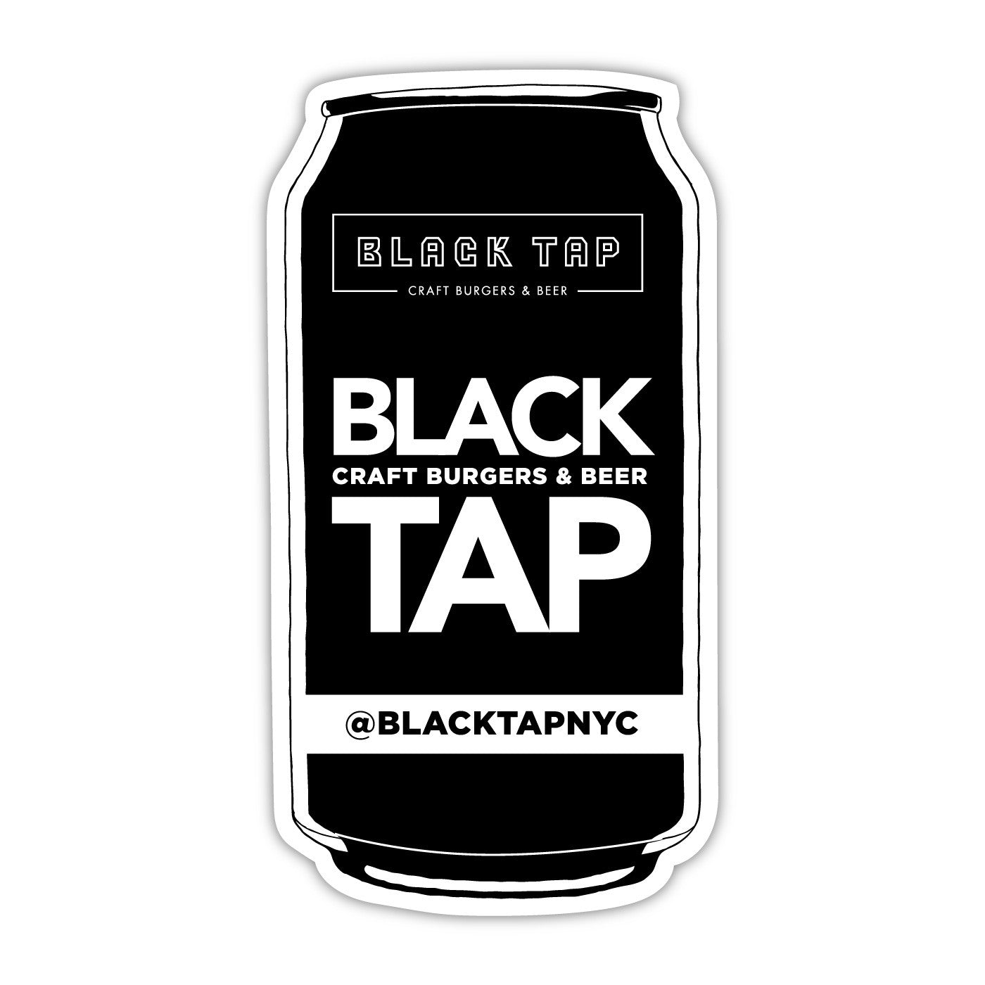 beer can style cut out sticker with our logo and instagram handle, @blacktapnyc
