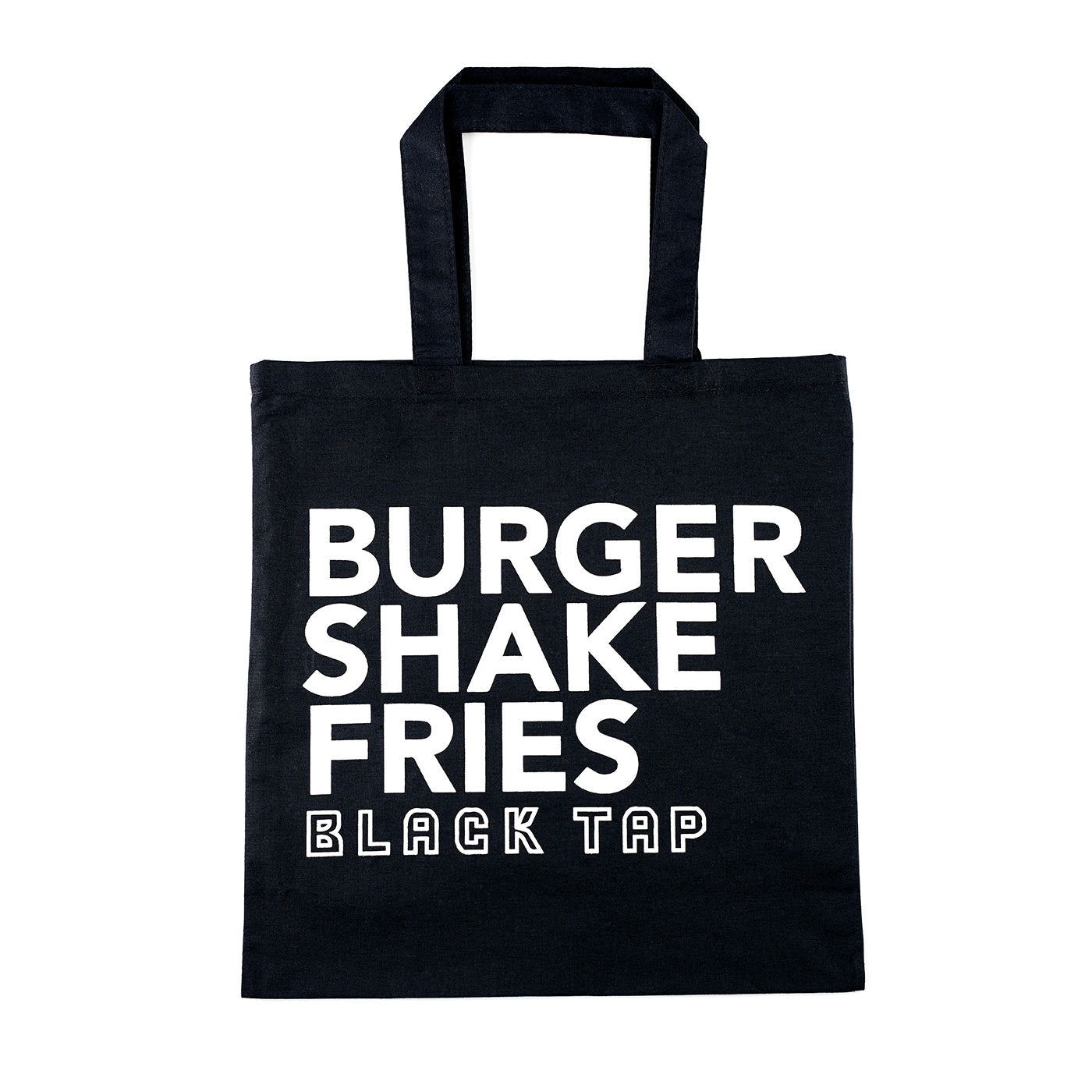 black tote with burger, shake, fries text