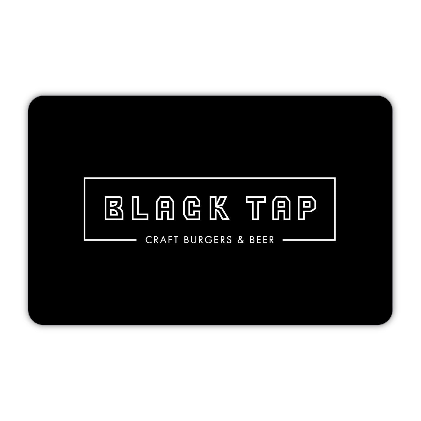 black tap gift card valid to use at our NYC locations. Purchase amounts are $25, $50, $75, $100, $125, $150, $175, $200