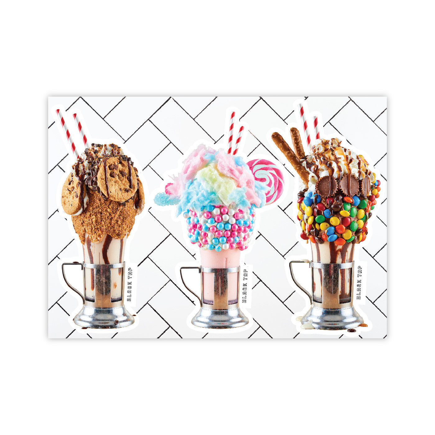 3 cut out stickers of our cookie, cotton candy, and sweet and salty crazyshake milkshakes