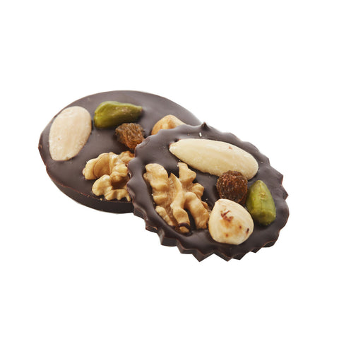 Chocolate with mixed nuts and raisins