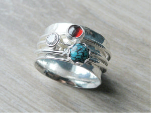f045d664e Silver turquoise ring • Three stone ring worry ring • 3 band spinner ring •  Anxiety
