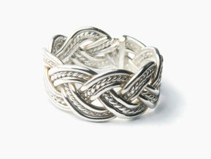 Woven Ring Sterling Silver Thick Weave Toe Ring Silver Rings