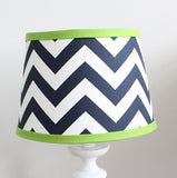 Chevron Navy with Lime Green Accent Lamp Shade