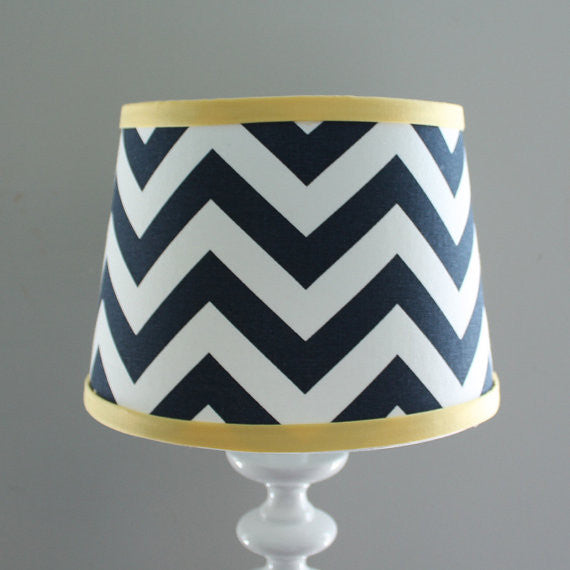 Chevron Navy with Yellow Accent Lamp Shade