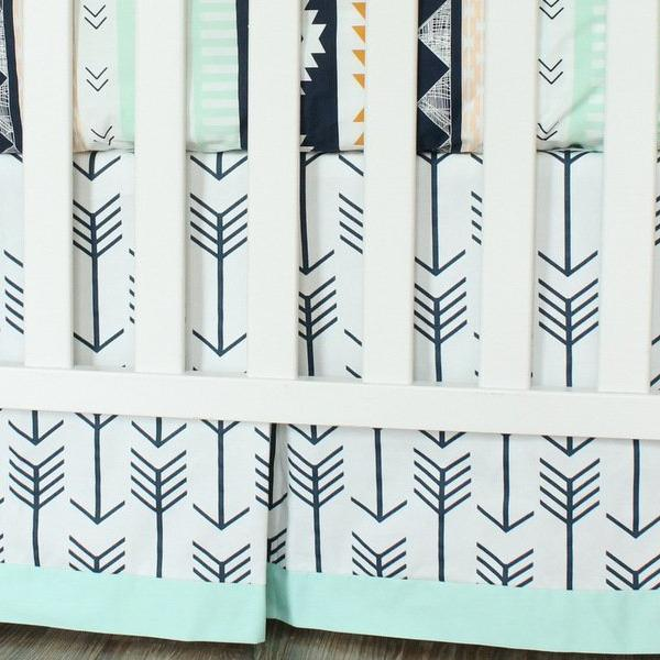 Navy Arrow Crib Skirt