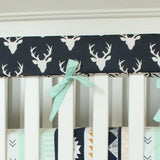 Navy and Mint Buck Boy Crib Bedding