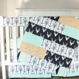 Navy mint arrow buck crib set