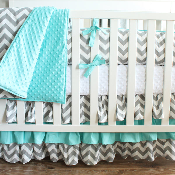 Gray Chevron Aqua Crib Bedding Set
