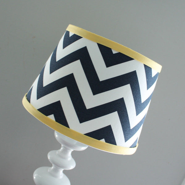 Navy & Yellow Chevron Lamp Shade