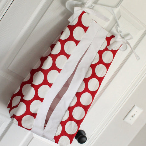Red and white polka dot Diaper Stacker holder