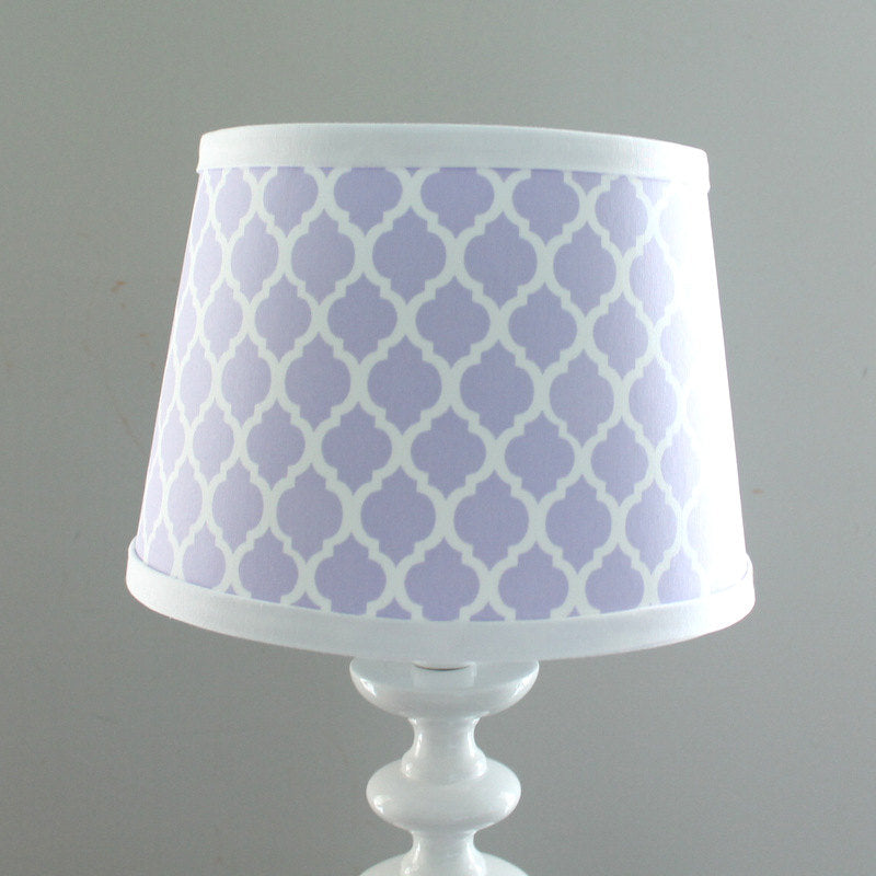 IN STOCK White Lavender quatrefoil lamp shade.