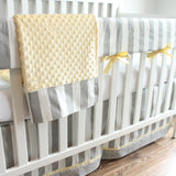 Gray and Yellow Stripe Bumperless Crib Bedding Set