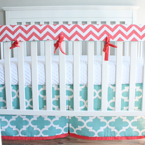 Ready to ship. Chevron coral and light aqua moroccan crib bumperless bedding set