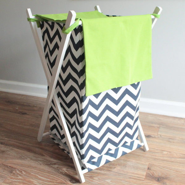 Nursery Hamper Chevron navy with accent green
