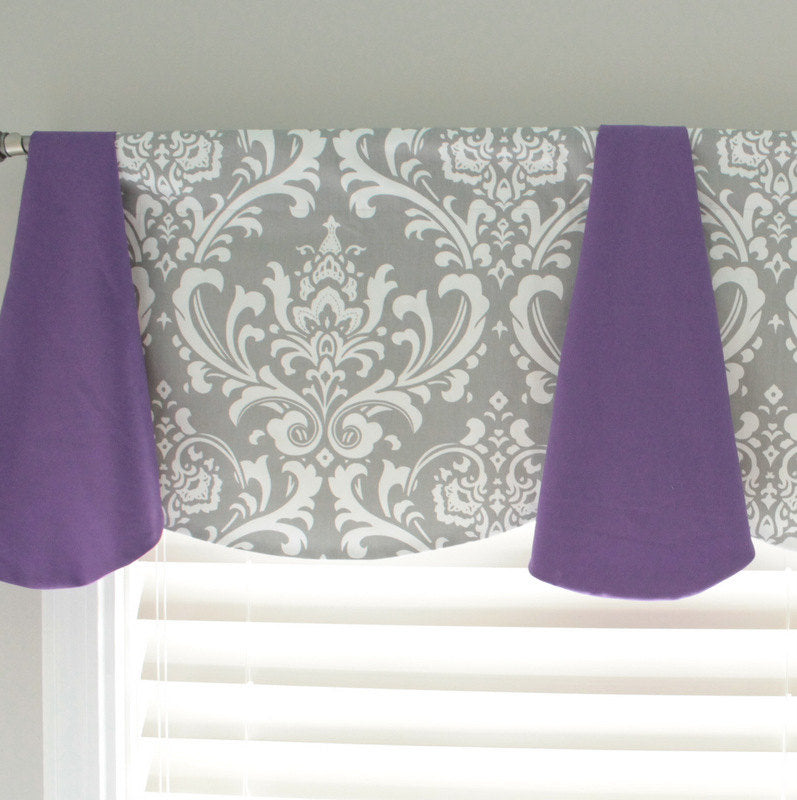 Custom Gray Damask Imperial window Valance. Available in other fabrics and colors.