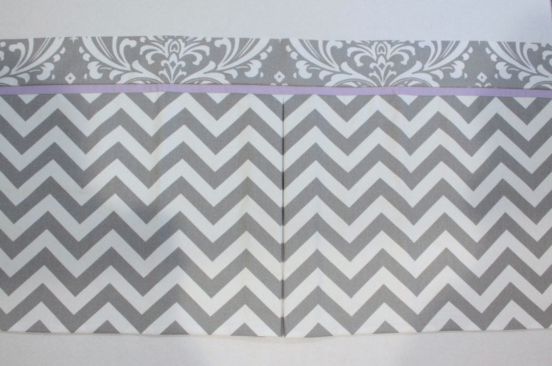Custom Box Pleat valance. Gray Chevron Damask with Accent lavender.  Other Colors available.
