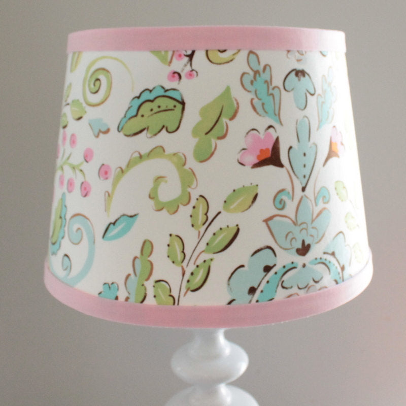 Pink and blue Damask lamp shade