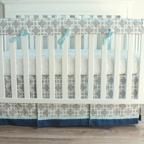 Gray and Blue Gotcha Crib Rail Bedding set.