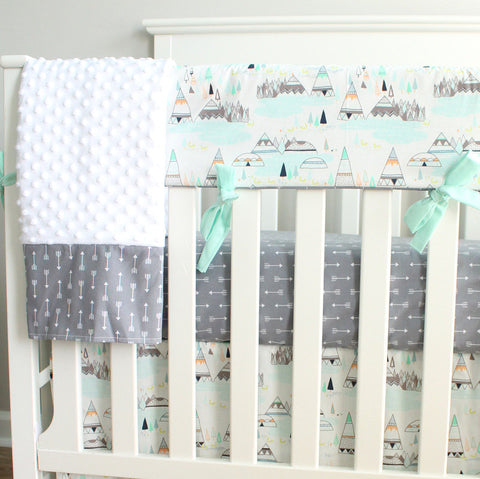 Indian Summer Woodland Mint Teepee Crib Set