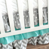 Ruffled Crib skirt.  3 Tiered Crib skirt design. Available in all fabric collections.