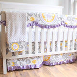 Wisteria Lavender Bumperless Crib Bedding set.