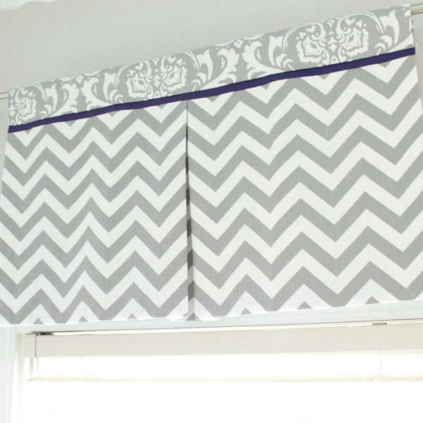 Custom Box Pleat valance. Gray Chevron Damask with Accent navy.  Other Colors available.