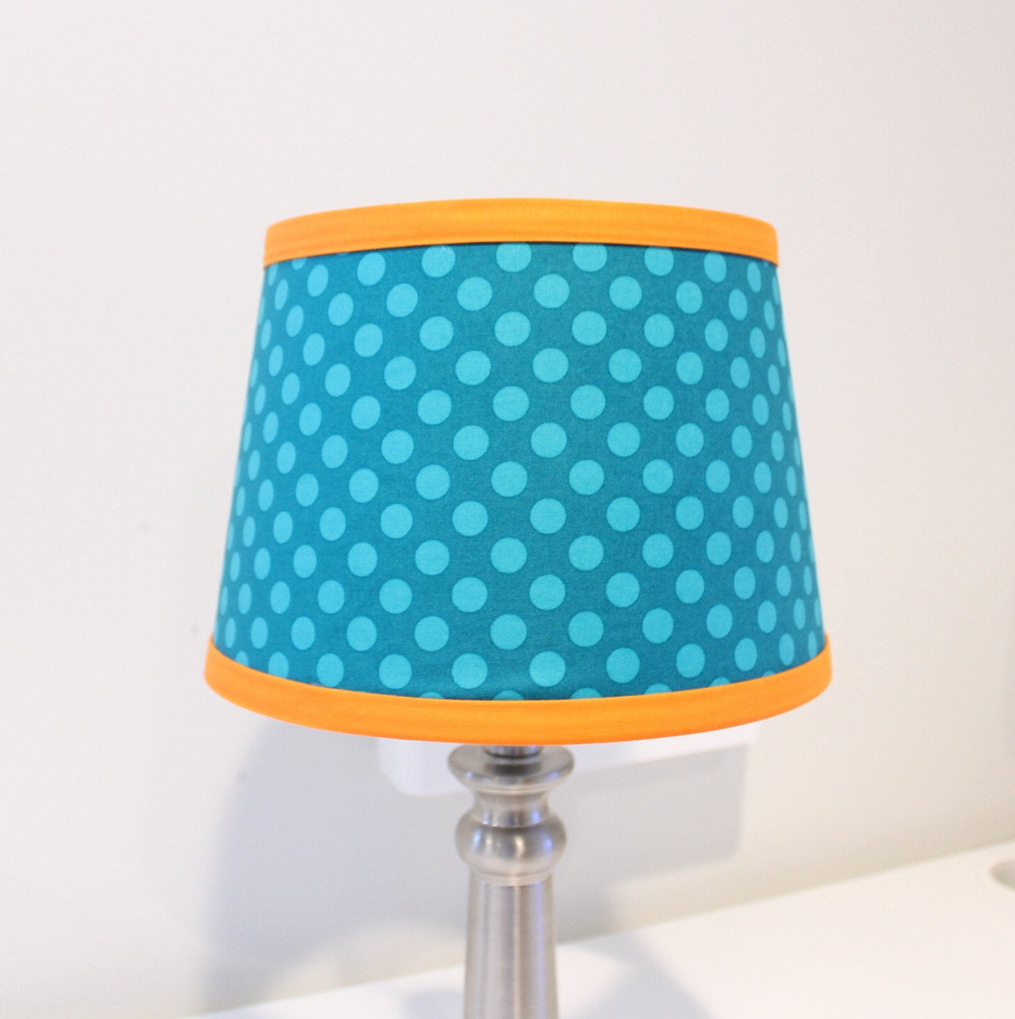 Teal & Orange Polka Dot Lamp shade