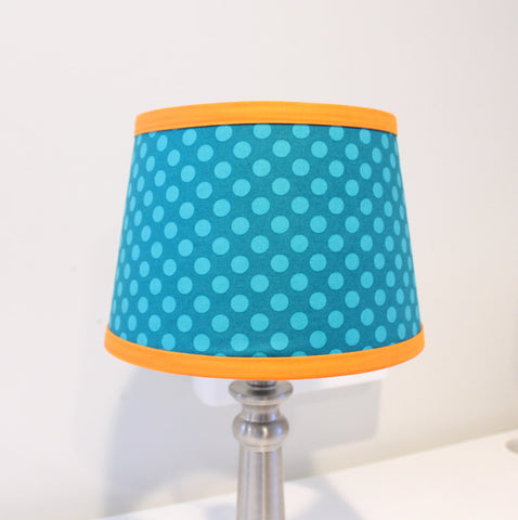 In Stock Teal and orange Polka dot Lamp shade