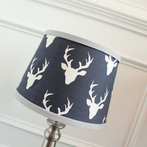 Navy & Gray  Buck Lamp Shade
