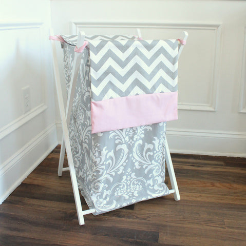 White and Gray Damask Chevron with pink accent Custom Nursery Hamper Cover