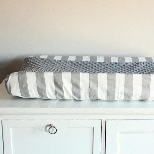 Gray & white stripe with accent gray minky Contour Changing pad cover.