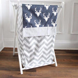Navy Blue Buck with gray accent Nursery Hamper Cover