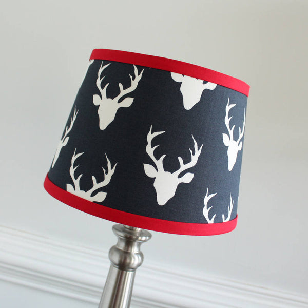 Navy Blue & Red Buck Lamp Shade