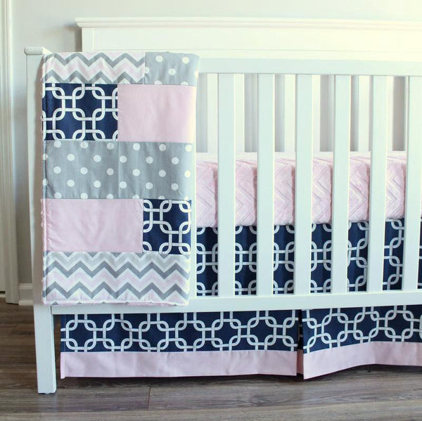 Baby Girl Crib bedding set.  Navy Blue, Pink, Gray, Bumperless baby bedding set