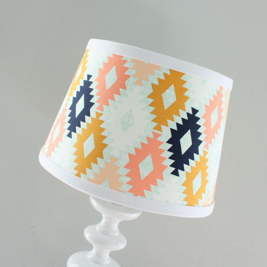 In Stock. Nursery Lamp shade Arizona Agave Field Coral Peach Navy Aztec Mint