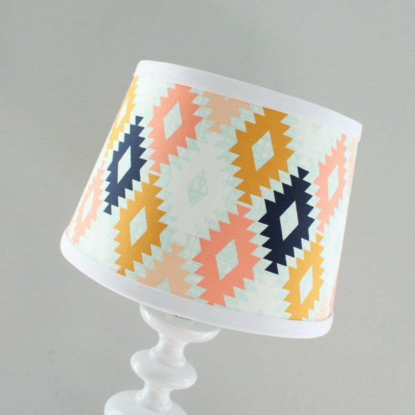 Aztec Coral & Navy Lamp Shade