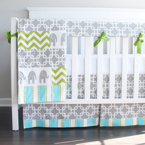 In Stock. Gray Chevron Elephant Crib bedding set.