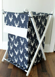 Navy Blue Buck with white accent Nursery Hamper Cover Nursery accessories