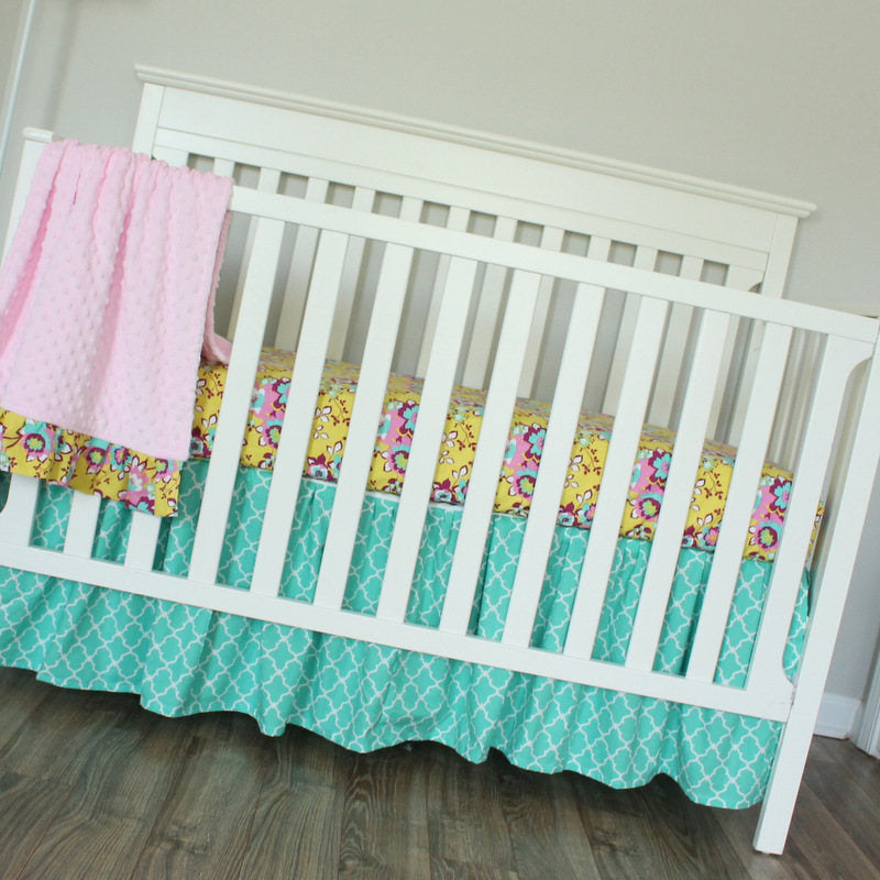 3 PC Set Floral Girl Turquoise pink  bumperless crib bedding set.  In Stock