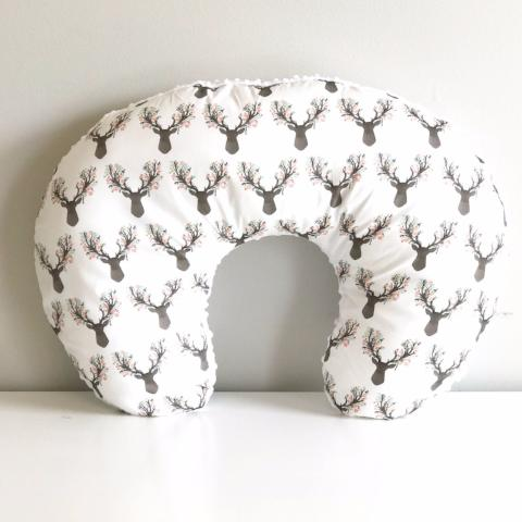 Boppy Cover Nursing pillow. Floral Coral Buck Deer Woodland, Girl Room decor