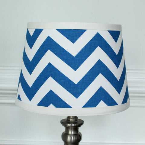 White Cobalt Blue Chevron lamp shade