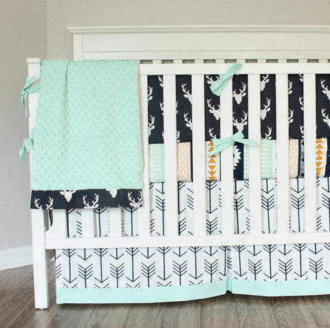 Navy Mint Buck Crib bedding. Woodland tribal Aztec Buck crib bumper boy baby bedding.