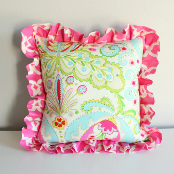 Design yourself pillow. Kumari Custom ruffled Nursery pillow