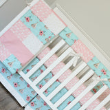 Floral Coral TeePee Crib bedding. Woodland teepee coral and mint girl crib baby bedding.