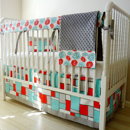 Closeout.  4 Pc set Boardwalk Red & Gray Bumperless Crib Rail Cover Bedding Set.