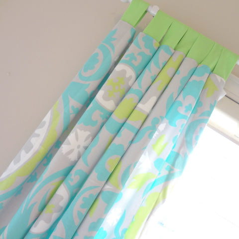 "Blue and Green Custom Drapery Tap Top Panels 84"" Long"