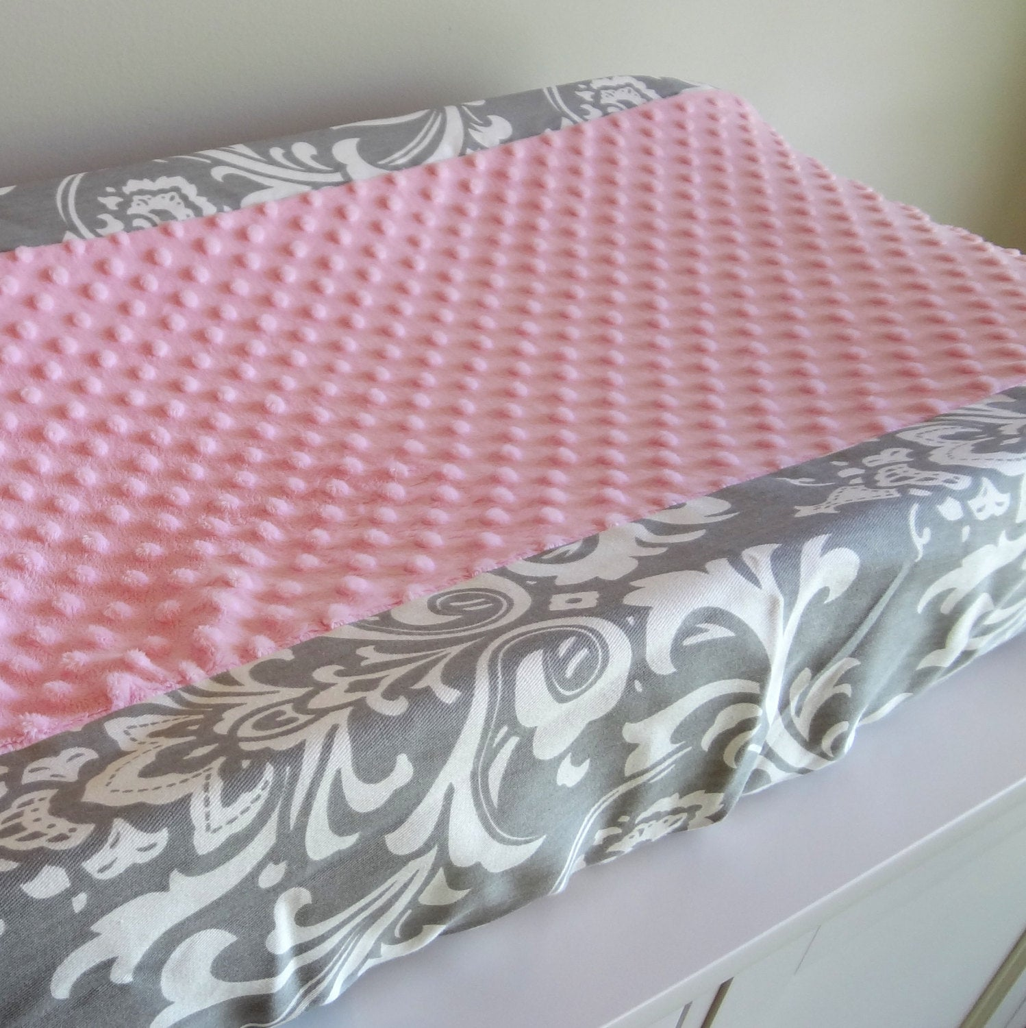 Pink and Gray Damask contour cover
