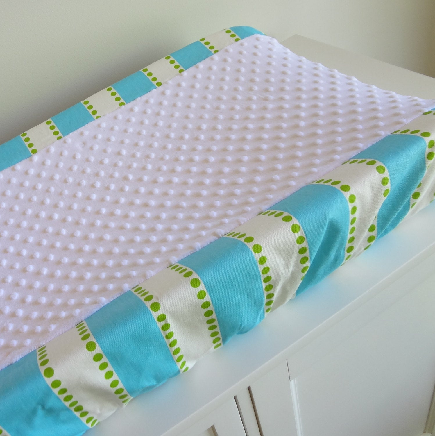 Bubble Bliss Blue & Green stripe Contour Changing pad cover.