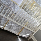 Gray and Yellow Damask Crib Rail Bedding set